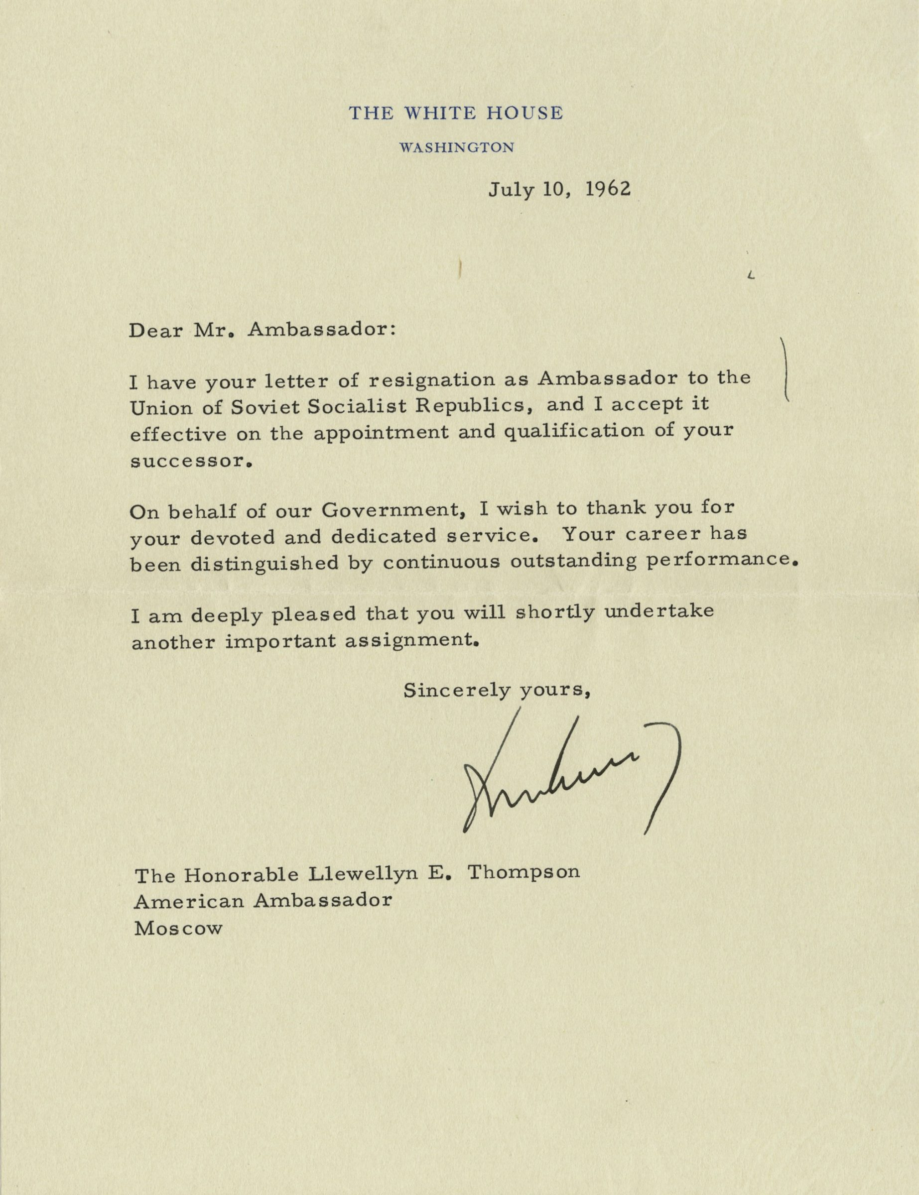 John Kennedy Typed Letter To His Soviet Ambassador  The Raab Collection