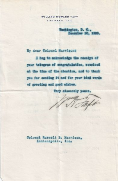 Taft signed letter to harrison the raab collection the heir to a great political dynasty showing his support for the incoming republican president thecheapjerseys Choice Image