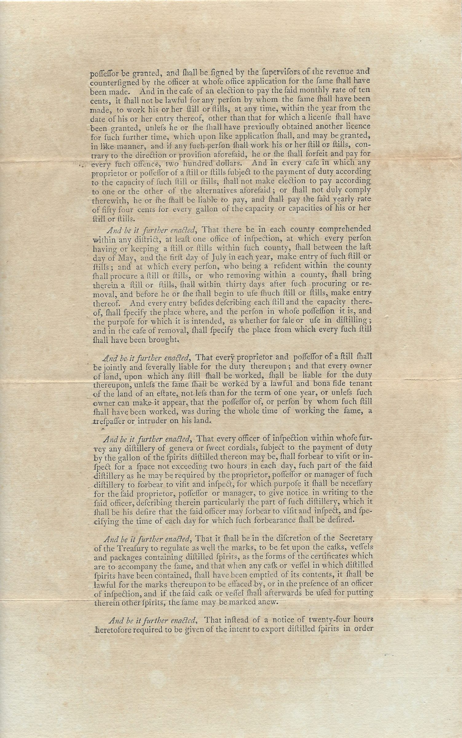 The Act of Congress That Helped Bring on the Whiskey Rebellion, Signed by Thomas Jefferson as Secretary of State