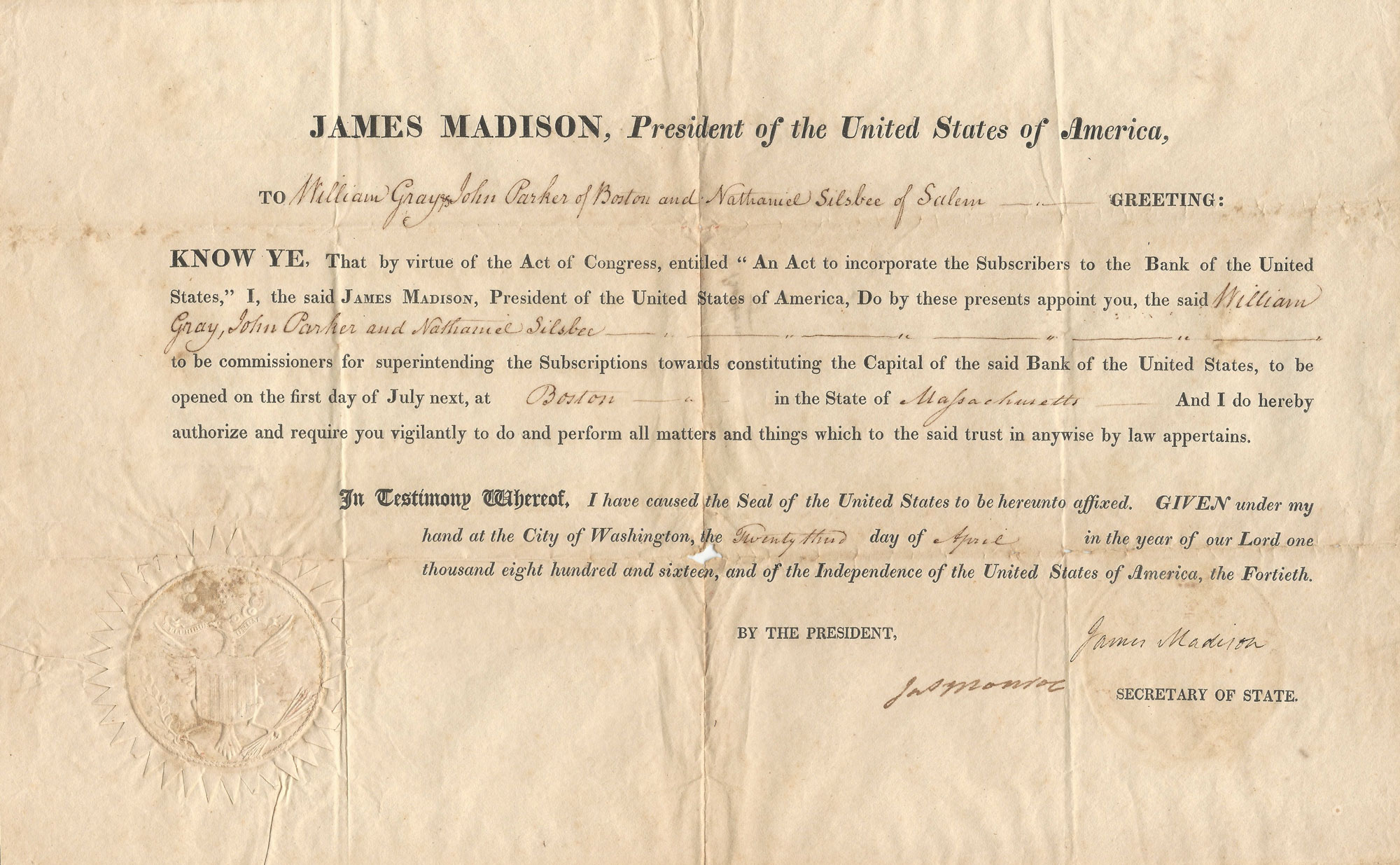 President James Madison and Secretary of State James Monroe Authentic Document to Appoint Commissioners to Fund the Second Bank of the United States
