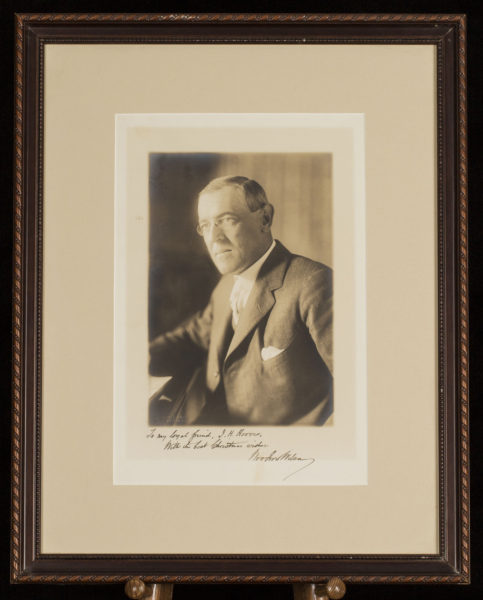 Woodrow Wilson Signed Photograph Inscribed to White House Chief Usher Ike Hoover